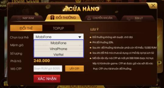 Hình ảnh doi thuong trum club2 in Cách đổi thưởng trùm club Viettel, Vina, Mobifone - trum.club
